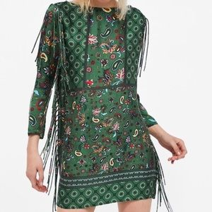 Zara Woman Green Paisley Print Fringe Tunic Dress